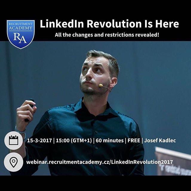 Attention all EN speakers! 🚨 @josef.kadlec is here for you to tell you about all the LinkedIn changes 🎤👩🏻‍💻👨🏽‍💻 Save the date: 15-3-2017 ☝🏼 #recruitmentacademy